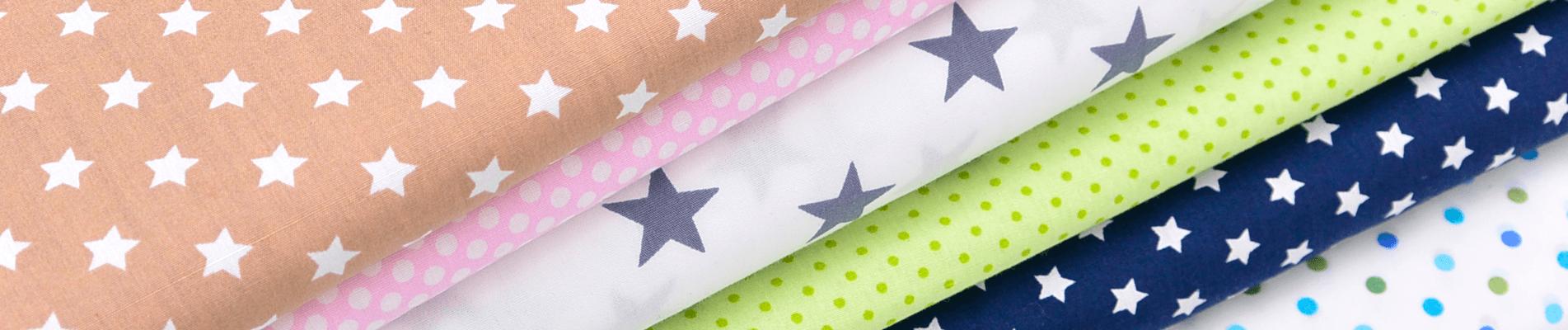 Baumwolle Stoff Sterne Punkte
