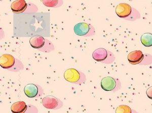 Macarons Stoff Baumwolle rosa