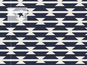 Baumwolle Stoff grafische Muster dunkelblau weiß