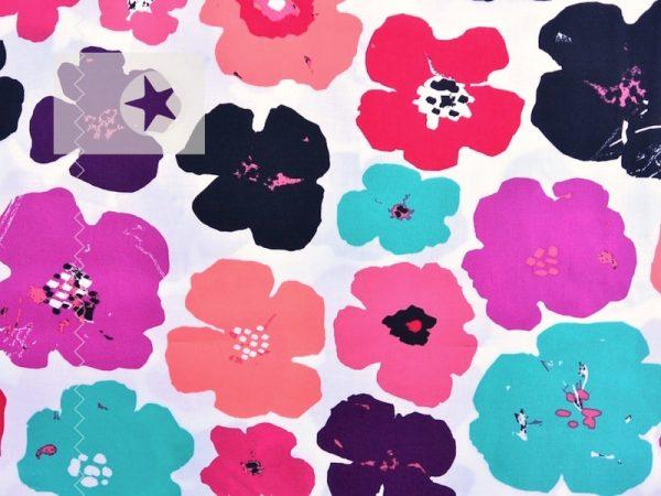 Baumwolle Stoff Blumen Mohnblumen pink