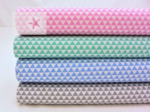 Baumwolle Stoff Dreiecke mint weiß