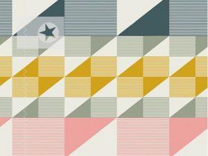 Baumwolle Stoff grafische Muster aqua senf