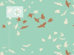 Baumwollstoff Vögel mint offwhite