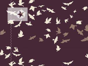 Baumwollstoff Vögel brombeer offwhite