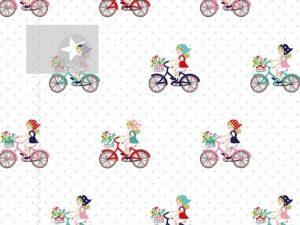 Stoff Fahrradmotiv Baumwolle Fahrrad