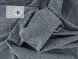 Jersey Stoff meliert graublau