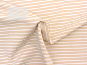Jersey Streifen beige weiß