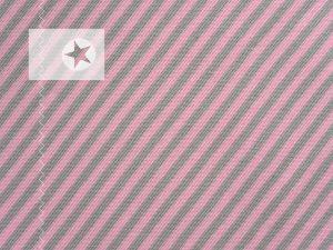 Bündchenstoff grau gestreift rosa