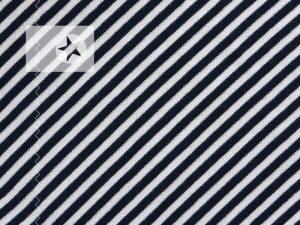 Bündchenstoff gestreift dunkelblau weiß