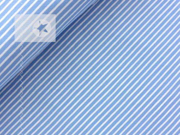 Jersey Streifen hellblau weiß