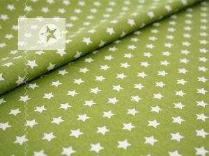 Baumwolle Sterne grün weiß