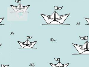 Jersey Stoff Papierboot hellblau