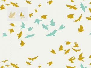 Baumwollstoff Vögel offwhite gold