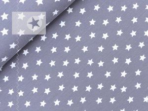 Jersey Stoff Sterne grau weiß