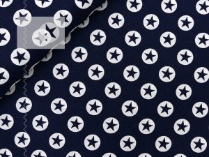 Baumwollstoff Sterne Kreise blau