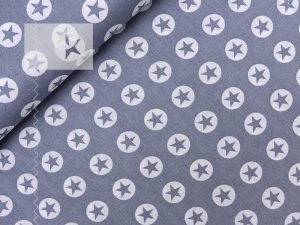 Baumwollstoff Sterne Kreise grau