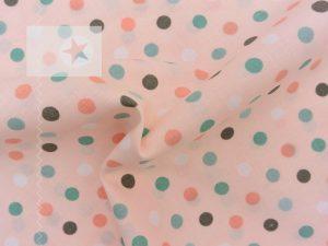 Baumwollstoff Punkte hellrosa mint