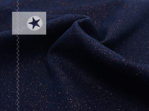Bündchen Glitzer dunkelblau kupfer