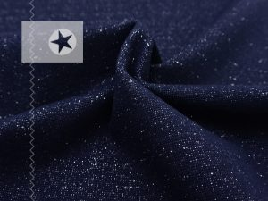 Bündchen Glitzer dunkelblau silber