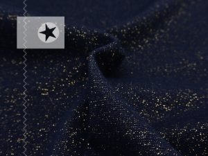 Bündchen Glitzer dunkelblau gold