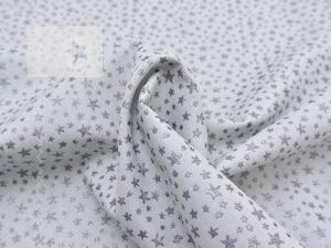 Baumwolle Sterne Glitzer grau silber