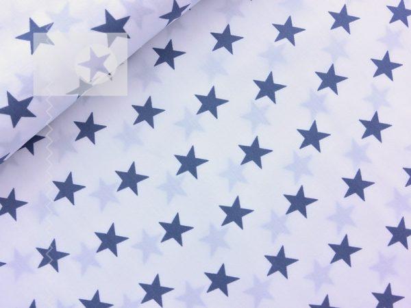 Baumwolle Sterne weiß grau