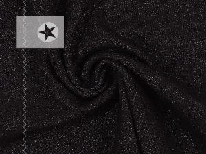 Bündchen Glitzer schwarz silber