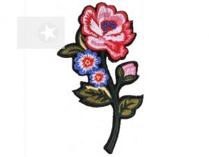 Applikation Rose zum Aufbügeln rot blau