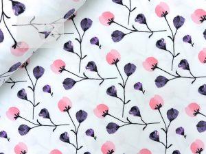 Jersey Stoff Blumen weiß rosa pflaume