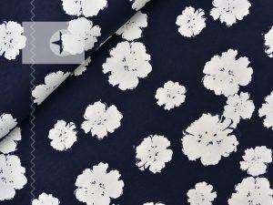 Jersey Lichteffekt Blumen dunkelblau