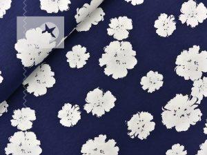 Jersey Lichteffekt Blumen jeansblau