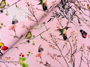 Jersey Stoff Vögel rosa
