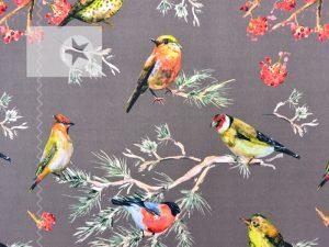Softshell Stoff Vögel taupe