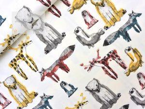 Jersey Stoff Tiere Waldtiere cremeweiß