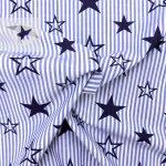 Blusenstoff Baumwolle gestreift Sterne