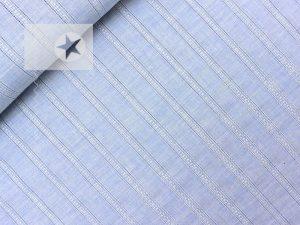Blusenstoff Baumwolle gestreift Batist hellblau