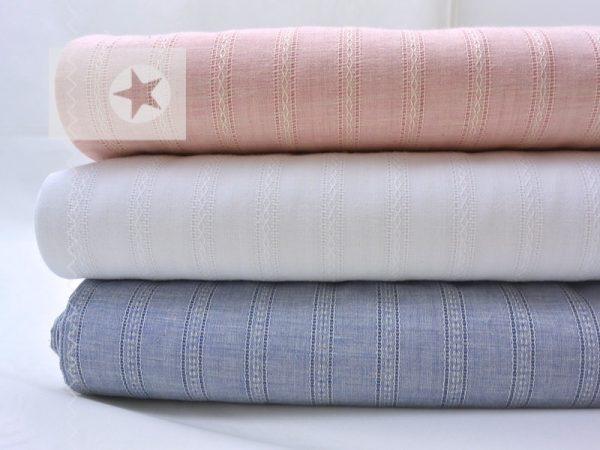 Blusenstoff Baumwolle gestreift Batist weiß