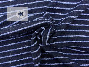 Jersey Streifen blau meliert Glitzer