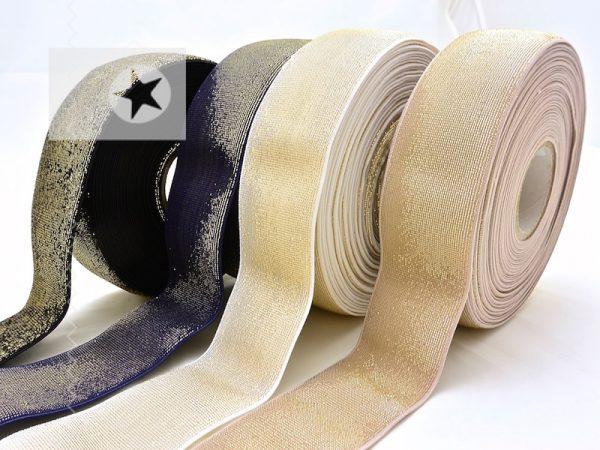 Gummiband 40 mm breit mit Glitzer gold