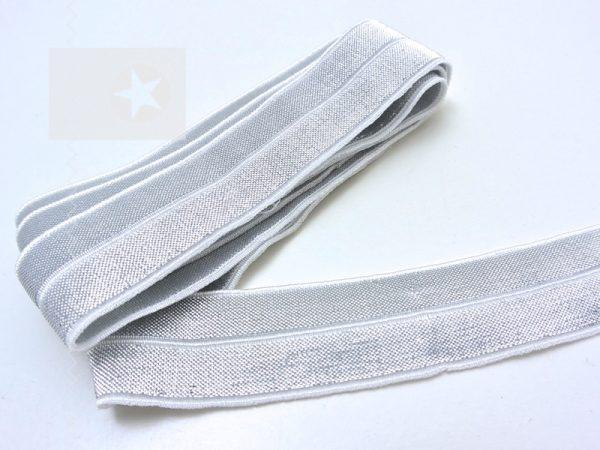 Falzgummi Einfassband elastisch offwhite silber
