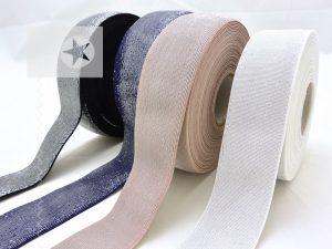 Gummiband 40 mm breit mit Glitzer silber