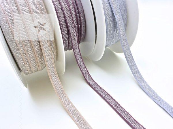 Gummiband 9 mm breit mit Glitzer silber