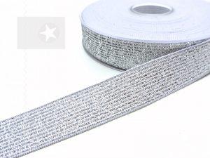 Gummiband 20 mm Glitzer silber