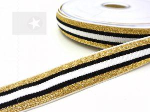 Gummiband 20 mm mit Glitzer schwarz gold