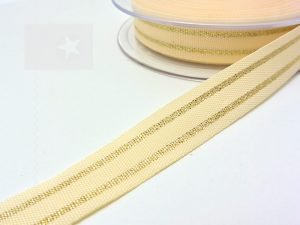 Hoodieband 15 mm Webband cremeweiß gold