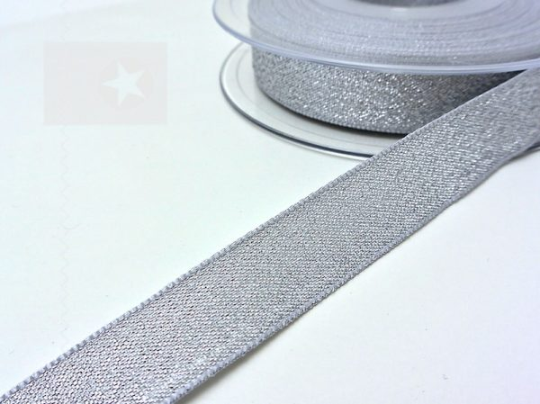 Hoodieband 15 mm Webband Glitzer silber