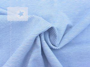 Jersey Streifen Mini Stripes hellblau weiß