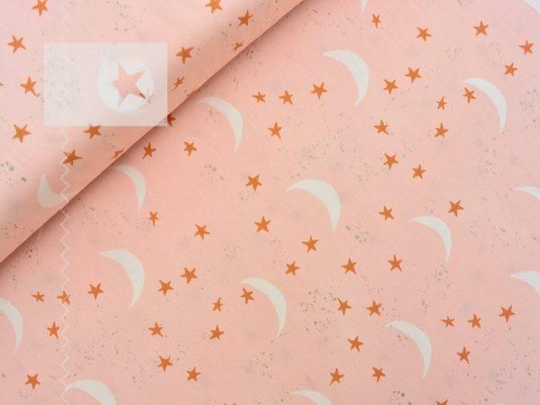 Baumwolle Stoff Halbmond Sterne rosé kupfer