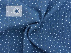 Musselin Stoff Pünktchen jeansblau weiß