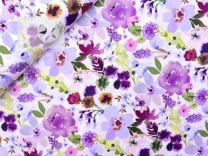 Stoffmuster Baumwollsatin Blumen violett